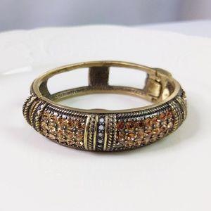 Heidi Daus Rhinestone Topaz Style Gold Bracelet